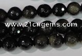 COB265 15.5 inches 10mm faceted round golden obsidian beads