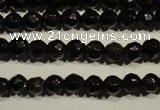 COB450 15.5 inches 4mm faceted round black obsidian beads