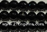 COB452 15.5 inches 8mm faceted round black obsidian beads