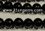 COB453 15.5 inches 10mm faceted round black obsidian beads