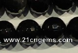 COB457 15.5 inches 18mm faceted round black obsidian beads