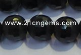 COB476 15.5 inches 12mm faceted round matte black obsidian beads