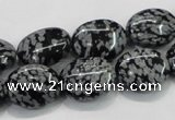 COB55 15.5 inches 12*16mm oval Chinese snowflake obsidian beads
