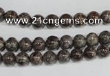 COB551 15.5 inches 6mm round red snowflake obsidian beads wholesale