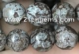 COB693 15.5 inches 10mm faceted round Chinese snowflake obsidian beads