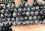 COB762 15.5 inches 12mm round snowflake obsidian beads wholesale