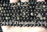 COB766 15.5 inches 6mm round golden obsidian beads wholesale