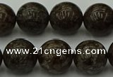 COB805 15.5 inches 14mm round red snowflake obsidian beads