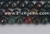 COJ310 15.5 inches 4mm faceted round Indian bloodstone beads