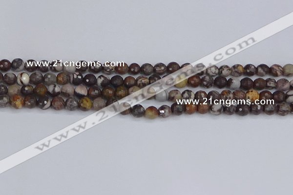 COJ361 15.5 inches 6mm faceted round outback jasper beads
