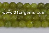 COJ408 15.5 inches 4mm faceted round olive jade beads