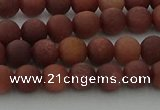 COJ471 15.5 inches 6mm round matte African blood jasper beads