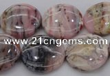 COP1264 15.5 inches 18mm flat round natural pink opal gemstone beads