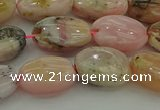 COP1291 15.5 inches 10*14mm oval natural pink opal beads