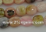 COP1297 15.5 inches 8*8mm square natural pink opal beads