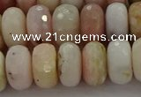 COP1324 15.5 inches 7*12mm faceted rondelle natural pink opal beads