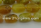 COP1420 15.5 inches 10*14mm drum yellow opal gemstone beads