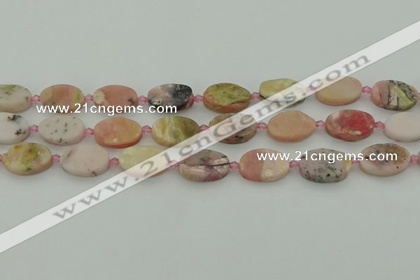 COP1436 15.5 inches 10*16mm oval natural pink opal gemstone beads