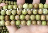 COP1576 15.5 inches 12mm round Australia olive green opal beads