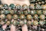 COP1645 15.5 inches 16mm faceted round green opal gemstone beads