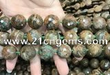 COP1646 15.5 inches 20mm faceted round green opal gemstone beads