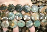 COP1648 15.5 inches 20mm flat round green opal gemstone beads
