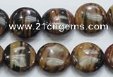 COP212 15.5 inches 16mm flat round natural brown opal gemstone beads