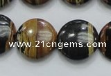 COP213 15.5 inches 20mm flat round natural brown opal gemstone beads