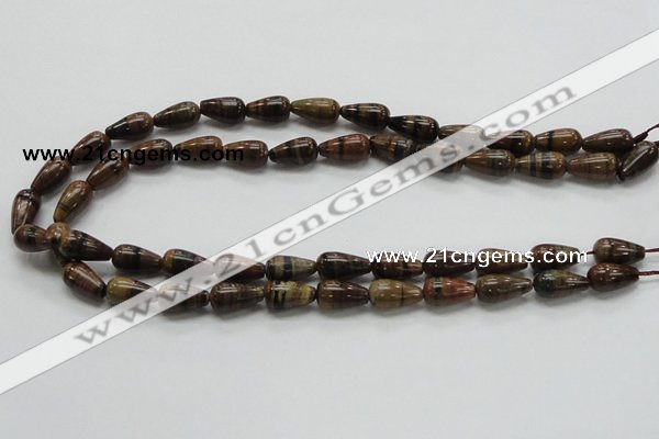 COP237 15.5 inches 8*16mm teardrop natural brown opal gemstone beads