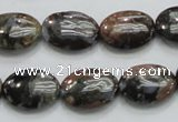 COP254 15.5 inches 13*18mm oval natural grey opal gemstone beads