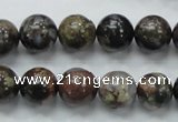 COP267 15.5 inches 12mm round natural grey opal gemstone beads