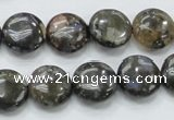 COP270 15.5 inches 14mm flat round natural grey opal gemstone beads