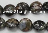 COP271 15.5 inches 16mm flat round natural grey opal gemstone beads