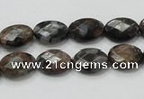 COP273 15.5 inches 10*14mm faceted oval natural grey opal gemstone beads