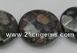 COP279 15.5 inches 30mm faceted round natural grey opal gemstone beads