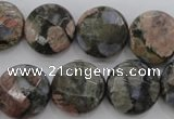 COP295 15.5 inches 16mm faceted coin natural grey opal beads