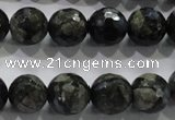 COP464 15.5 inches 12mm faceted round natural grey opal gemstone beads