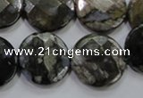COP483 15.5 inches 20mm faceted coin natural grey opal beads