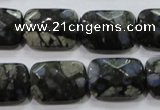 COP490 15.5 inches 13*18mm faceted rectangle natural grey opal beads
