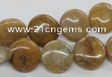 COP700 15.5 inches 14mm flat round wooden opal gemstone beads