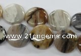 COP701 15.5 inches 16mm flat round wooden opal gemstone beads