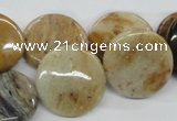 COP702 15.5 inches 20mm flat round wooden opal gemstone beads