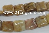 COP704 15.5 inches 12*12mm square wooden opal gemstone beads