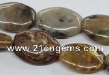 COP710 15.5 inches 18*25mm flat drum wooden opal gemstone beads