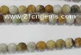 COS151 15.5 inches 6mm faceted round ocean stone beads wholesale