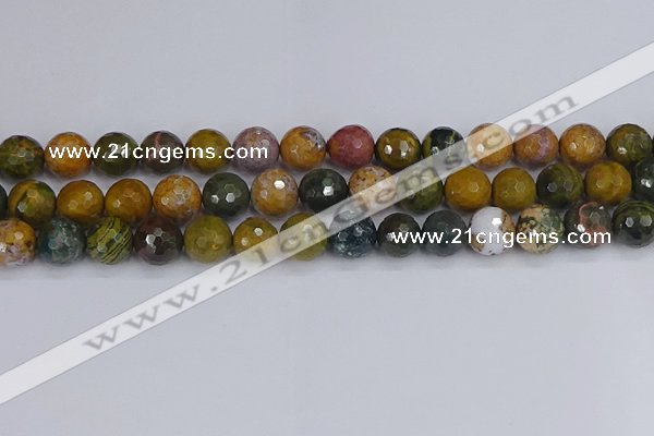 COS204 15.5 inches 12mm faceted round ocean jasper beads