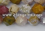 COS212 15.5 inches 10mm faceted nuggets ocean jasper beads