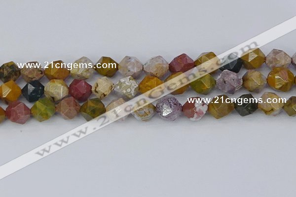 COS213 15.5 inches 12mm faceted nuggets ocean jasper beads