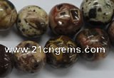 COS82 15.5 inches 16mm round red ocean stone beads wholesale
