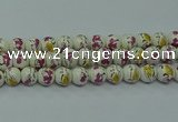 CPB693 15.5 inches 10mm round Painted porcelain beads